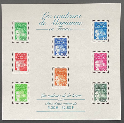 """Les couleurs de Marianne en Euros"" - Marianne's colors in Euros - block sheet nr. 42 with 8 MNH old stamps - France - 2001"