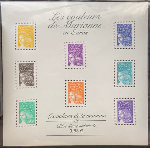 """Les couleurs de Marianne en Euros"" - Marianne's colors in Euros - block sheet nr. 44 with 8 MNH old stamps - France - 2002"