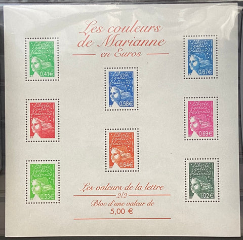 """Les couleurs de Marianne en Euros"" - Marianne's colors in Euros - block sheet nr. 45 with 8 MNH old stamps - France - 2002"