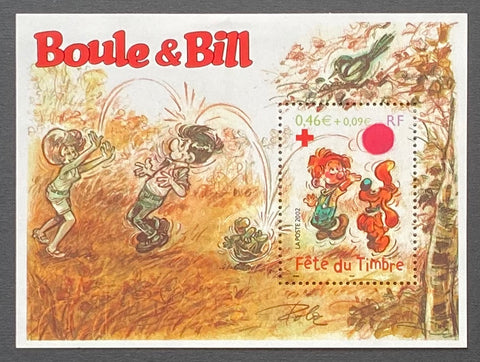"""Fête du timbre - Boule et Bill - Croix-Rouge Française""- Stamp Festival - Boule et Bill - French Red-Cross - block sheet nr. 46 with 1 MNH old stamp - France - 2002  Yvert & Tellier: block sheetlet (feuillet) nr. 46 with stamp 3469"