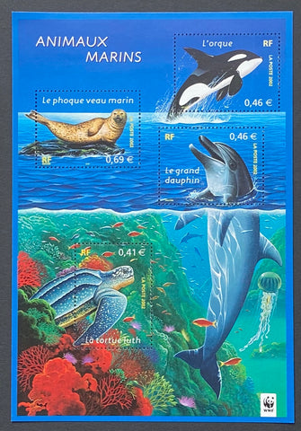 """Nature de France (XVII) - Animaux marins""- Nature of France (XVII) - Marine animals - block sheet nr. 48 with 4 MNH old stamps - France - 2002  Yvert & Tellier: block sheetlet (feuillet) nr. 48 with stamps 3485/3488"