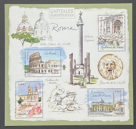 """Capitales européennes - Rome""- European Capitals - Rome - block sheet nr. 53 with 4 MNH old stamps - France - 2002  Yvert & Tellier: block sheetlet (feuillet) nr. 53 with stamps 3527/3530"