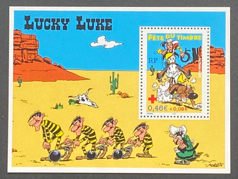 """Fête du timbre - Lucky Luke - Croix-Rouge Française""- Stamp Festival - Lucky Luke - French Red-Cross - block sheet nr. 55 with 1 MNH old stamp - France - 2003  Yvert & Tellier: block sheetlet (feuillet) nr. 55 with stamps 3547"