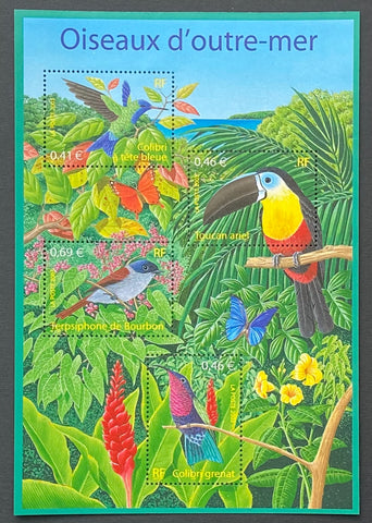 """Série Nature - Oiseaux d´Outremer""- Nature Series - Overseas Birds - block sheet nr. 56 with 4 MNH old stamps - France - 2003  Yvert & Tellier: block sheetlet (feuillet) nr. 56 with stamps 3548/3551"