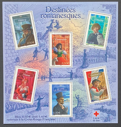 """Destinées romanesques""- Romantic destinies - block sheet nr. 60 with 6 MNH old stamps - France - 2003  Yvert & Tellier: block sheetlet (feuillet) nr. 60 with stamps 3588-3593"