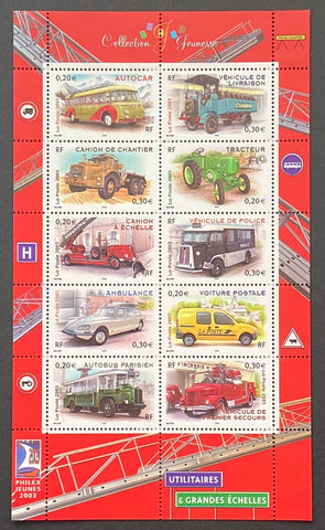 """Collection jeunesse - Véhicules utilitaires""- Youth Collection - Utility Vehicles - block sheet nr. 63 with 10 MNH old stamps - France - 2003  Yvert & Tellier: block sheetlet (feuillet) nr. 63 with stamps 3609/3618"