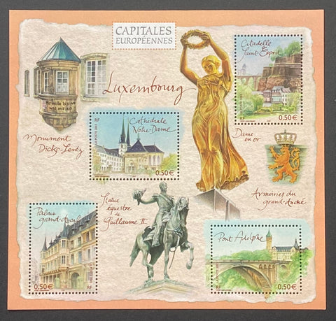 """Capitales européennes - Luxembourg""- European Capitals - Luxembourg - block sheet nr. 64 with 4 MNH old stamps - France - 2003  Yvert & Tellier: block sheetlet (feuillet) nr. 64 with stamps 3624/3627"