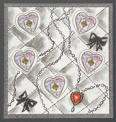 """Saint-Valentin - Coeurs de Karl Lagerfeld""- Valentine's Day - Karl Lagerfeld Hearts - block sheet nr. 66 with 5 MNH old stamps - France - 2004"