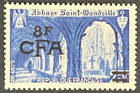 """Abbaye de Saint Wandrille"" - Abbey of Saint Wandrille -  25f surcharged 8f CFA mint never hinged old stamp - France - 1949  Type: taille-douce Yvert & Tellier France CFA pour la Réunion: 302 (surcharged on stamp 842 for Reunion Island)"