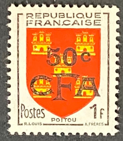 """Armoiries du Poitou"" - Poitou Coat of Arms -  1f surcharged 50c CFA mint never hinged old stamp - France - 1953  Type: typography Yvert & Tellier France CFA pour la Réunion: 307 (surcharged on stamp 952 for Reunion Island)"