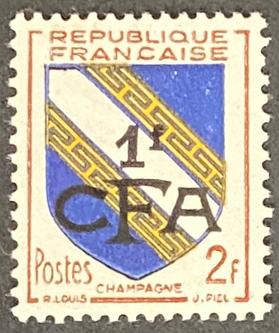 """Armoiries de Champagne"" - Champagne Coat of Arms -  2f surcharged 1f CFA mint never hinged old stamp - France - 1953  Type: typography Yvert & Tellier France CFA pour la Réunion: 308 (surcharged on stamp 953 for Reunion Island)"