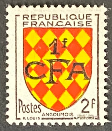 """Armoiries d'Angoûmois"" - Angoûmois Coat of Arms -  2f surcharged 1f CFA mint never hinged old stamp - France - 1953  Type: typography Yvert & Tellier France CFA pour la Réunion: 309 (surcharged on stamp 1003 for Reunion Island)"