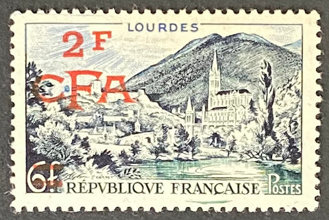 """Série touristique - Lourdes"" - Tourist series - Lourdes - 6f surcharged 2f CFA mint never hinged old stamp - France - 1954  Type: taille-douce Yvert & Tellier France CFA pour la Réunion: 310 (surcharged on stamp 976 for Reunion Island)"