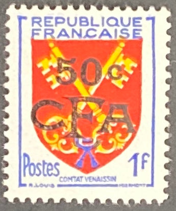 """Armoiries de Comtat Venaissin"" - Comtat Venaissin Coat of Arms -  1f surcharged 50c CFA mint never hinged old stamp - France - 1955  Type: typography Yvert & Tellier France CFA pour la Réunion: 320 (surcharged on stamp 1047 for Reunion Island)"