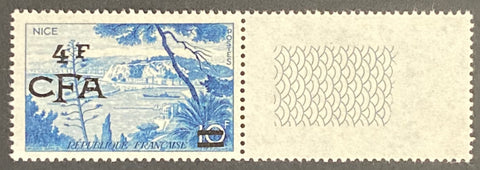"""Série touristique - Le Port de Nice"" - Tourist series - The Port of Nice - 10f surcharged 4f CFA mint never hinged old stamp - France - 1955  Type: taille-douce Yvert & Tellier France CFA pour la Réunion: 323 (surcharged on stamp 1038 for Reunion Island)"