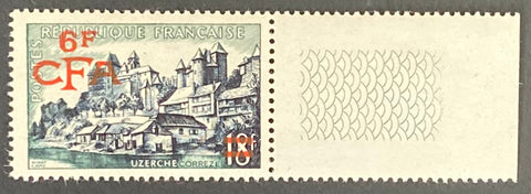 """Série touristique - Uzerche - Limousin"" - Tourist series - Uzerche - Limousin - 18f surcharged 6f CFA mint never hinged old stamp - France - 1955  Type: taille-douce Yvert & Tellier France CFA pour la Réunion: 3245 (surcharged on stamp 1040 for Reunion Island)"