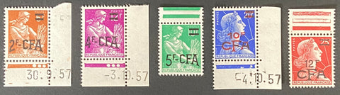 """Marianne de Muller et Moissonneuse"" - set of 5 surcharged CFA mint never hinged old stamps - France - 1957-59"