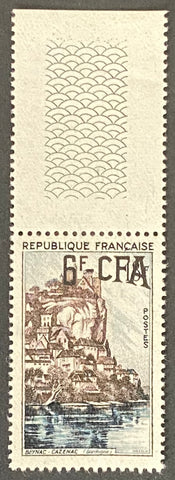 """Série touristique - Beynac-Cazenac"" - Tourist series - Beynac-Cazenac - 18f surcharged 6f CFA mint never hinged old stamp - France - 1957  Type: taille-douce Yvert & Tellier France CFA pour la Réunion: 334 (surcharged on stamp 1127 for Reunion Island)"