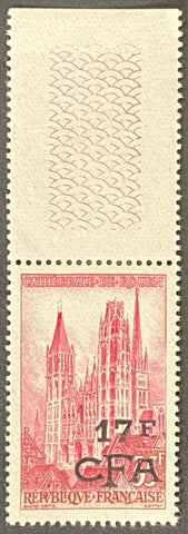 """Série touristique - Cathédrale de Rouen"" - Tourist series - Rouen Cathedral - 35f surcharged 17f CFA mint never hinged old stamp - France - 1957  Type: taille-douce Yvert & Tellier France CFA pour la Réunion: 338 (surcharged on stamp 1129 for Reunion Island)"