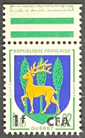 """Armoiries de Guéret"" - Guéret Coat of Arms -  2c surcharged 1f CFA mint never hinged old stamp - France - 1962  Type: typography Yvert & Tellier France CFA pour la Réunion: 342 (surcharged on stamp 1351B for Reunion Island)"