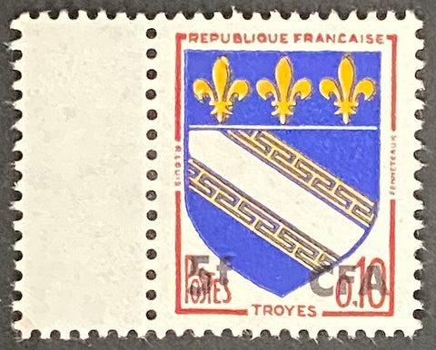 """Armoiries de Troyes"" - Troyes Coat of Arms -  10c surcharged 5f CFA mint never hinged old stamp - France - 1963  Type: typography Yvert & Tellier France CFA pour la Réunion: 346A (surcharged on stamp 1353 for Reunion Island)"