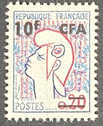 """Marianne de Cocteau"" - 20c surcharged 10f CFA mint never hinged old stamp - France - 1961  Type: taille-douce Yvert & Tellier France CFA pour la Réunion: 349A (surcharged on stamp 1282 type I for Reunion Island)"