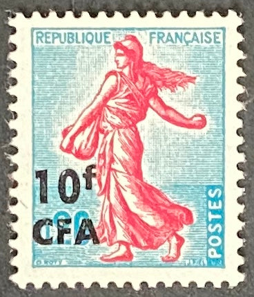 """Semeuse de Piel"" - 20c surcharged 10f CFA mint never hinged old stamp - France - 1961  Type: typography Yvert & Tellier France CFA pour la Réunion: 349 (surcharged on stamp 1233 type I for Reunion Island)"