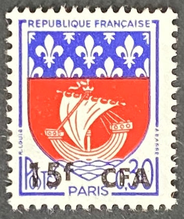 """Armoiries de Paris"" - Paris Coat of Arms -  30c surcharged 15f CFA mint never hinged old stamp - France - 1965  Type: typography Yvert & Tellier France CFA pour la Réunion: 350A (surcharged on stamp 1354B for Reunion Island)"
