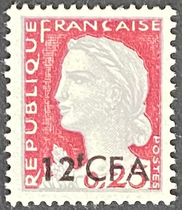 """Marianne de Decaris"" - 25c surcharged 12f CFA mint never hinged old stamp - France - 1960  Type: typography Yvert & Tellier France CFA pour la Réunion: 350 (surcharged on stamp 1263 type I for Reunion Island)"