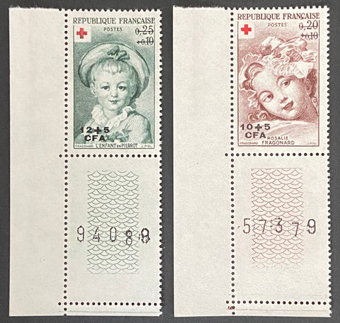 """Au profit de la Croix-Rouge - Oeuvres de Fragonard"" - For the benefit of the Red Cross - Works of Fragonard - complete set of 2 mint never hinged old stamps - France - 1962  Type: taille-douce Yvert & Tellier France CFA pour la Réunion: 353-354 (surcharged on stamps 1366-1367 for Reunion Island)"