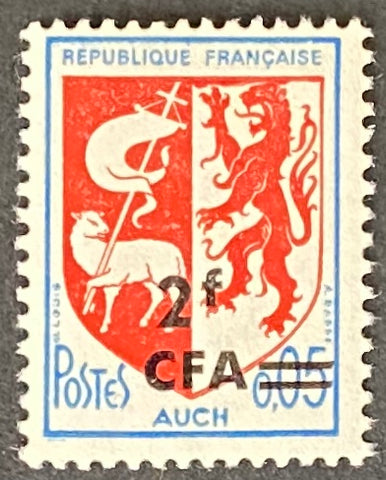 """Armoiries d'Auch"" - Auch Coat of Arms -  5c surcharged 2f CFA mint never hinged old stamp - France - 1966  Type: typography Yvert & Tellier France CFA pour la Réunion: 373 (surcharged on stamp 1468 for Reunion Island)"