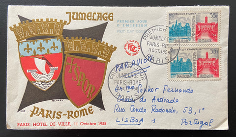 """Enveloppe 1er. jour circulée Jumelage Paris - Rome FDC - Paris Hotel de Ville"" - circulated FDC Paris - Rome twinning - Paris City Hall - 2 x 35f old stamps - France - 1958  Type: taille-douce Yvert & Tellier: stamps 1176"