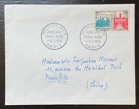 """Enveloppe circulée Jumelage Paris - Rome"" - Circulated envelope Paris - Rome Twinning - 35f old stamp - France - 1958  Type: taille-douce Yvert & Tellier: stamps 1176"
