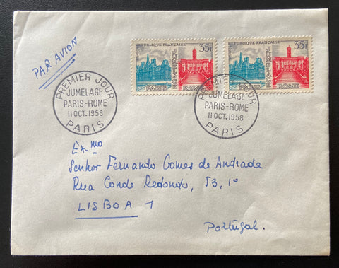"""Enveloppe circulée Jumelage Paris - Rome"" - Circulated envelope Paris - Rome Twinning - 2 x 35f old stamps - France - 1958  Type: taille-douce Yvert & Tellier: stamps 1176"