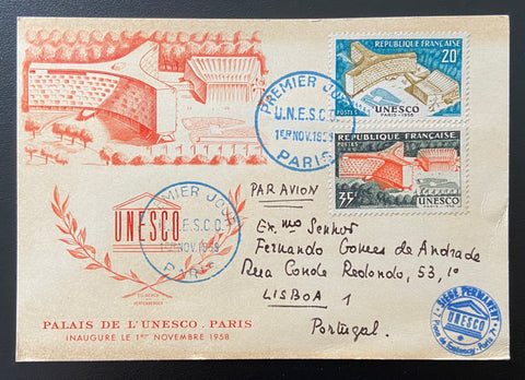 """Carte postale 1er. jour inauguration du Palais de l'UNESCO Paris"" - Inauguration of the UNESCO Palace Paris 1st. day postcard - 20f-35f old stamps - France - 1958  Type: taille-douce Yvert & Tellier: stamps 1177-1178"