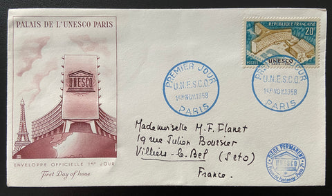 """Enveloppe 1er. jour inauguration du Palais de l'UNESCO Paris"" - FDC inauguration of the UNESCO Palace Paris - 20 francs old stamp - France - 1958  Type: taille-douce Yvert & Tellier: stamps 1177"