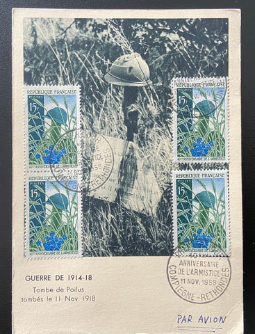 """Carte postale circulée 1er. jour 40ème anniversaire Armistice"" - Circulated postcard 40th Anniversary of the 1918 Armistice - 4 x 15f old stamps - France - 1958  Type: taille-douce Yvert & Tellier: stamps 1179"