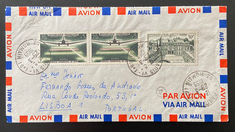 """Enveloppe circulée Journée du Timbre 1959 - Service aeropostal de nuit - Palais de l'Elysée à Paris"" - Circulated envelope Stamp Day 1959 - Aeropostal night service - Elysée Palace in Paris - 3 old stamps - France - 1959  Type: taille-douce Yvert & Tellier: stamps 1192-1196"