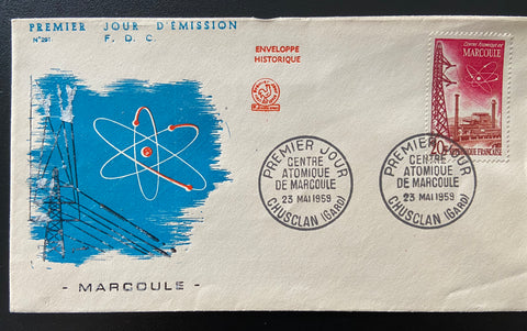 """Enveloppe 1er. jour Réalisations techniques Centre atomique de Marcoule"" - FDC Technical achievements Atomic Center of Marcoule - 20 francs old stamp - France - 1959  Type: taille-douce Yvert & Tellier: stamps 1204"