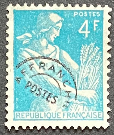 """Timbres pré-oblitérés - Type Moissonneuse"" - Pre-canceled stamps - Type Harvester - 4 f MNH old stamp - France - 1953  Type: typography Yvert & Tellier: PO 106"