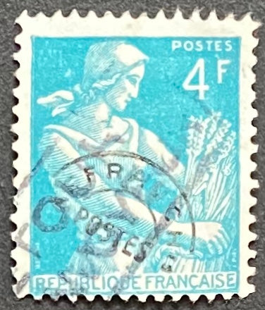 """Timbres pré-oblitérés - Type Moissonneuse"" - Pre-canceled stamps - Type Harvester - 4 f used old stamp - France - 1953  Type: typography Yvert & Tellier: PO 106"