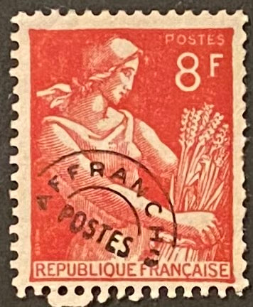"""Timbres pré-oblitérés - Type Moissonneuse"" - Pre-canceled stamps - Type Harvester - 8 f mint hinged old stamp - France - 1953  Type: typography Yvert & Tellier: PO 108"
