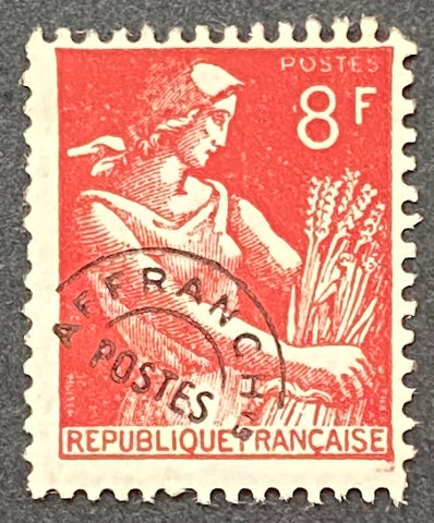 """Timbres pré-oblitérés - Type Moissonneuse"" - Pre-canceled stamps - Type Harvester - 8 f MNH old stamp - France - 1953  Type: typography Yvert & Tellier: PO 108"