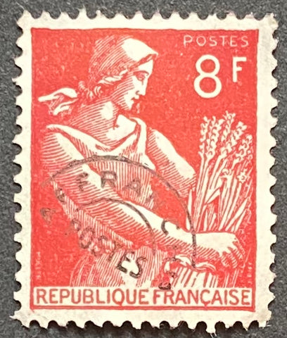 """Timbres pré-oblitérés - Type Moissonneuse"" - Pre-canceled stamps - Type Harvester - 8 f MNH w/o gum old stamp - France - 1953  Type: typography Yvert & Tellier: PO 108"