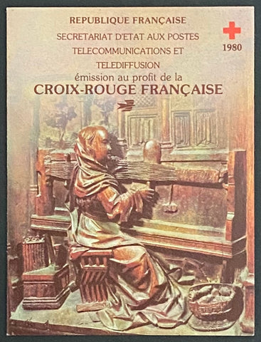 """Carnets Croix-Rouge Française""- Red-Cross booklet - booklet nr. 2029 with 8 MNH old stamps - France - 1980  Yvert & Tellier: stripe booklet (bande carnet) nr. 2029 with stamps 2116a-2117a"