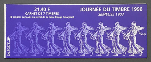 """Carnet Journée du Timbre 1996 - Semeuse 1903""- Stamp day 1996 booklet - Semeuse 1903 - booklet nr. BC2992 with 7 MNH stamps - France - 1996  Yvert & Tellier: stripe booklet (bande carnet) nr. BC2992 with stamps 2990-2991"