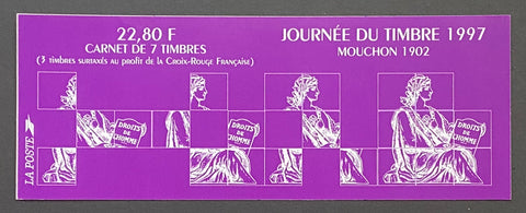 """Carnet Journée du Timbre 1997 - Mouchon 1902""- Stamp day 1997 booklet - Mouchon 1902 - booklet nr. BC3053 with 7 MNH stamps - France - 1997  Yvert & Tellier: stripe booklet (bande carnet) nr. BC3053 with stamps 3051-3052"
