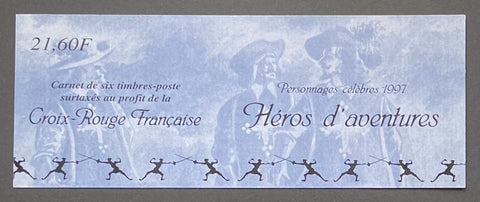 """Carnets commémoratifs - Personnages célèbres - Héros d´aventures""- Commemorative booklet - Famous characters - Adventure Heroes - booklet nr. BC3121 with 6 MNH stamps - France - 1997  Yvert & Tellier: stripe booklet (bande carnet) nr. BC3121 with stamps 3115/3120"