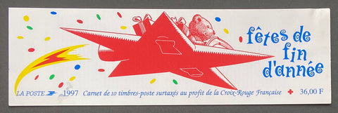 """Carnets Croix-Rouge - Fêtes de fin d'année""- Red-Cross booklet - End of year celebrations - booklet nr. 2046 with 10 MNH stamps- France - 1997  Yvert & Tellier: stripe booklet (bande carnet) nr. 2046 with stamps 3122"