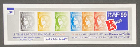 """Carnets commémoratifs - 150. anniversaire du premier timbre-poste français"" - Commemorative booklet - 150th anniversary of the first French postage stamp - booklet nr. BC3213 with 5 MNH stamps"" - France - 1999"